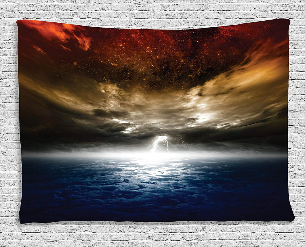 Ambesonne Lake House Decor Collection, Magical Mystic Lightning Activity Like Outer Space Nebula Neon Rays Cosmos Print, Bedroom Living Room Dorm Wall Hanging Tapestry, 60 X 40 Inches, Red Yellow Blue