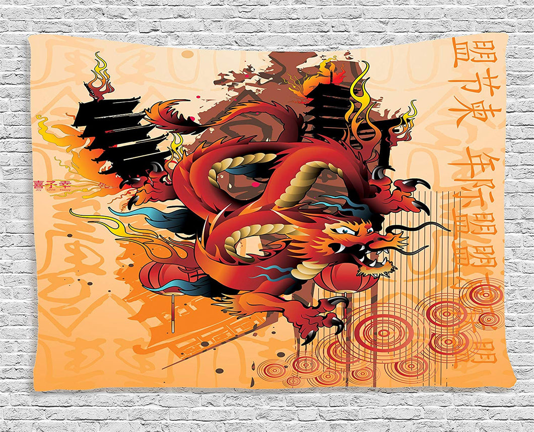 Ambesonne Dragon Decor Collection, Asian Dragon Theme Abstract Cartoon Graphic Culture Temple Fire Wind Japanese Symbols Lantern, Bedroom Living Room Dorm Wall Hanging Tapestry, 60 X 40 Inches, Multi