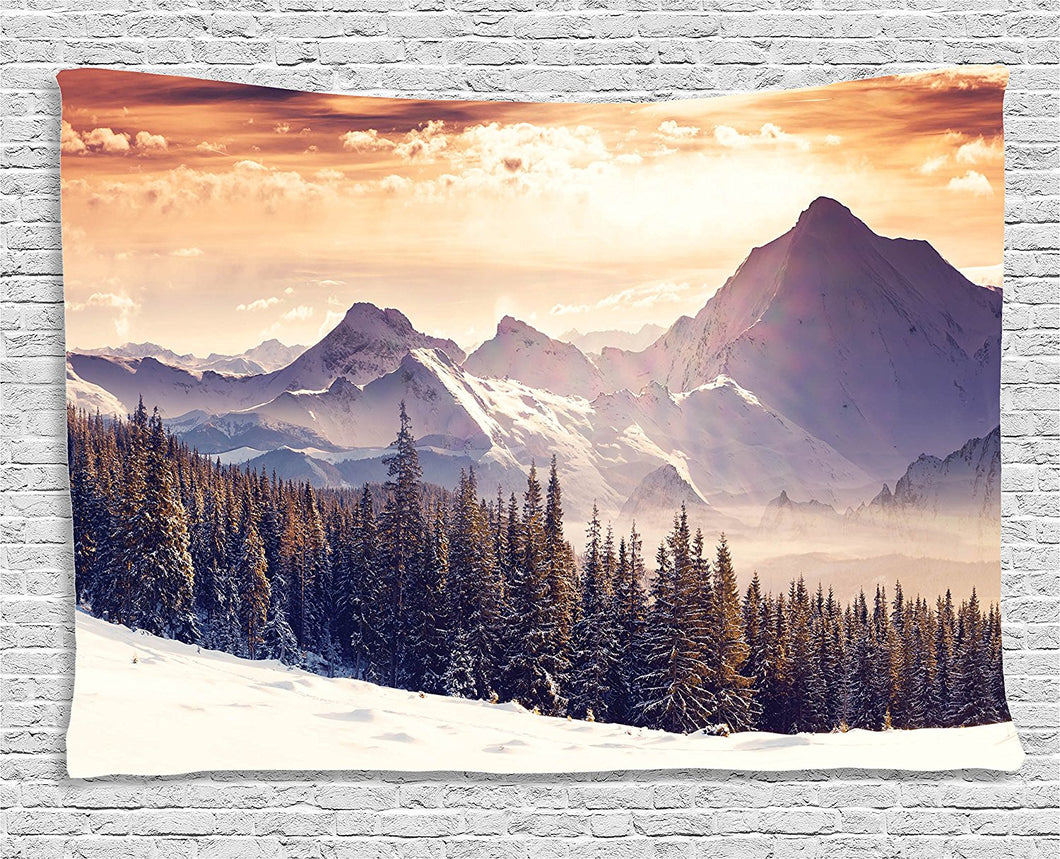Ambesonne Nature Landscape Decor Tapestry, Evening Winter Landscape with Dramatic Surreal Overcast Sky and Majestic Mountains, Wall Hanging for Bedroom Living Room Dorm, 80 X 60 Inches, Multi