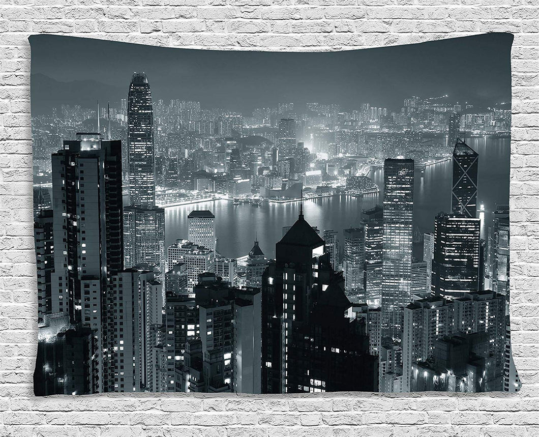 Hong Kong City Skyline Décor Tapestry