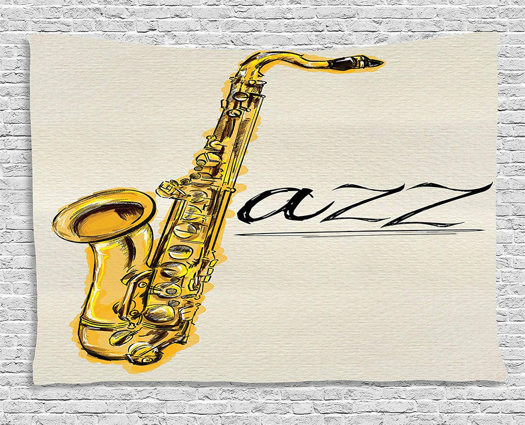 Jazz Music Saxophone Décor Tapestry