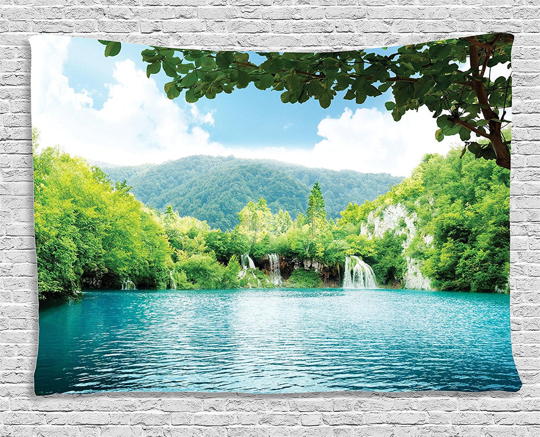 Ambesonne Cottage Decor Collection, Lake In Deep Forest Fed By Several Waterfalls In Summer, Bedroom Living Room Dorm Wall Hanging Tapestry, 60W X 40L Inch