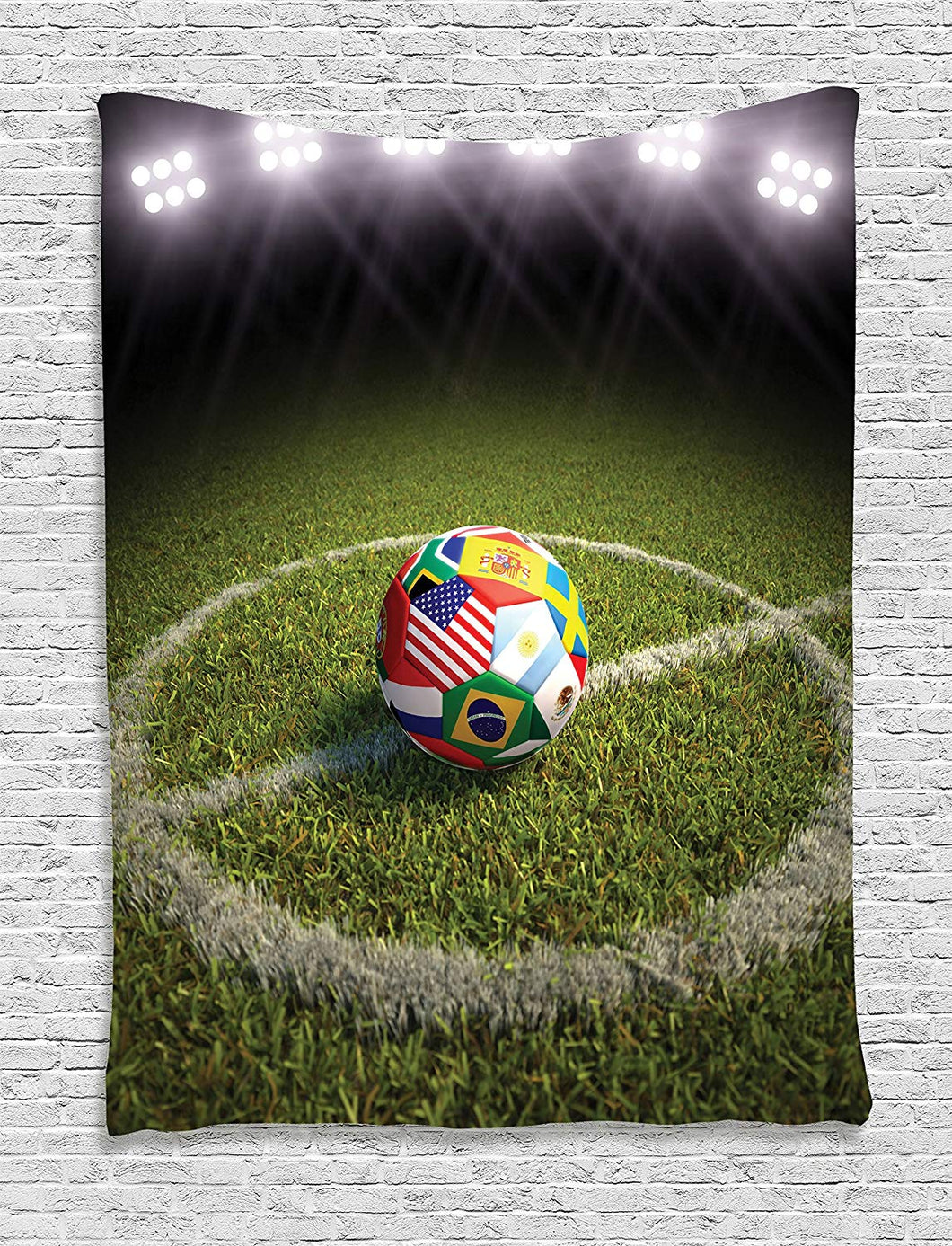 Ambesonne Sports Decor Collection, A Soccer Ball on a Soccer Field Printed Flags of the Participating Countries Image, Bedroom Living Room Dorm Wall Hanging Tapestry, Green White Red