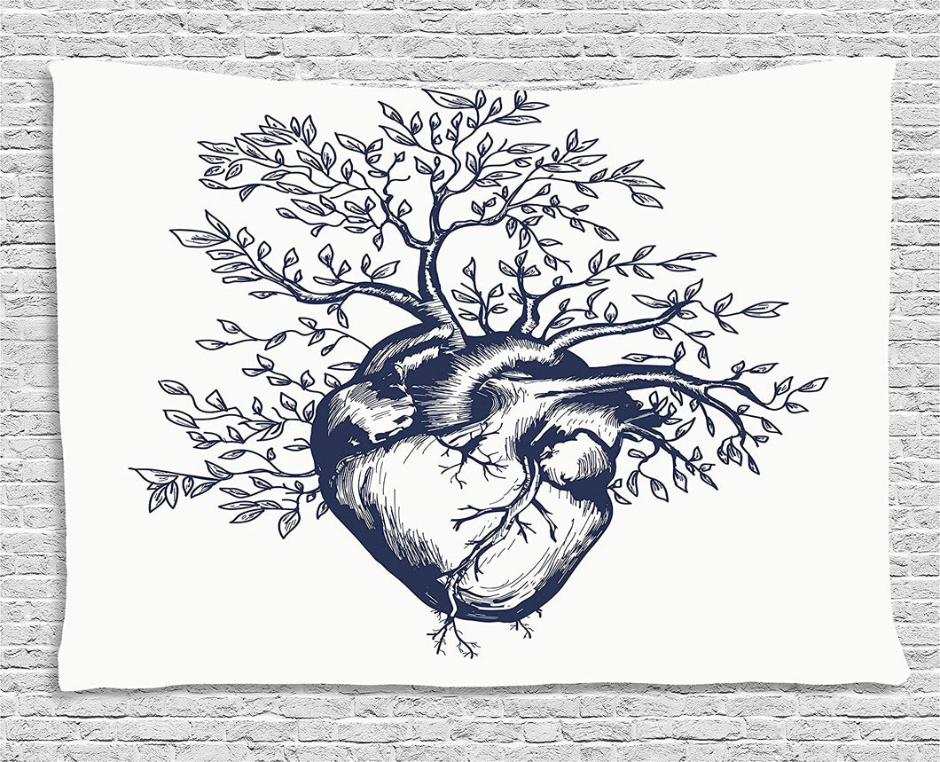 Human Heart With Blooming Tree Tapestry