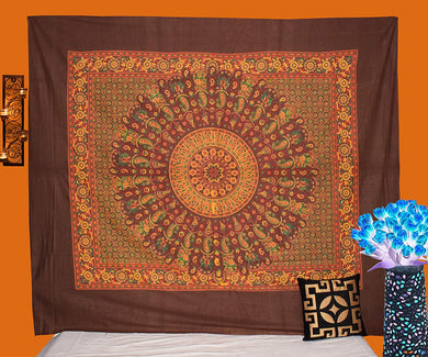 Wooden Block Mandala Tapestry