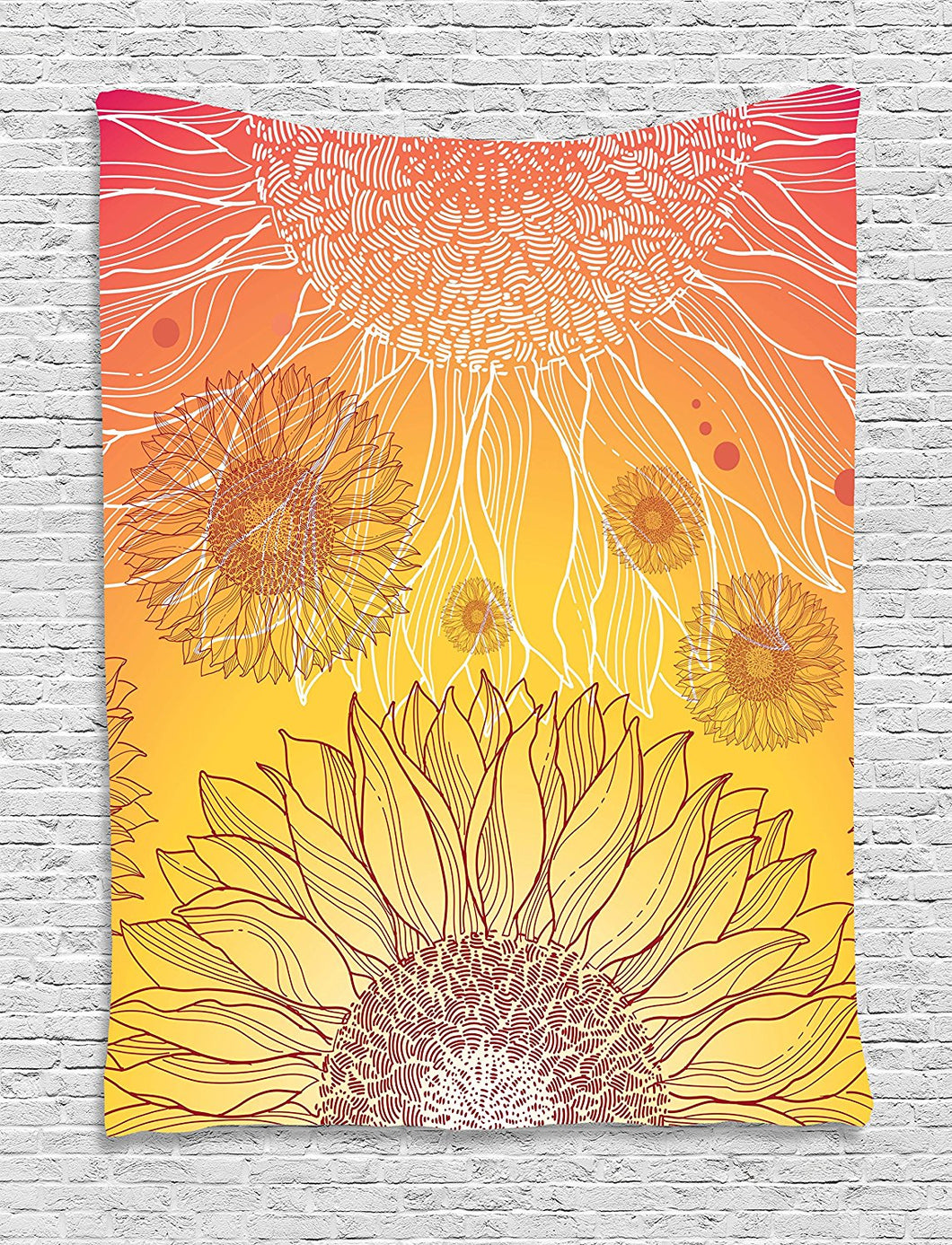 Ambesonne Botanical Tapestry, Sunflowers in Warm Colors Doodle Agriculture Design Blooming Plants, Wall Hanging for Bedroom Living Room Dorm, 60 W X 80 L Inches, Orange Yellow Burgundy