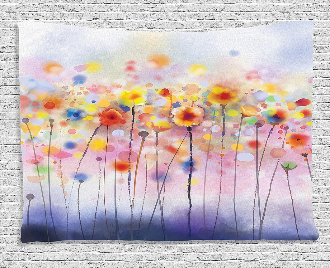 Ambesonne Watercolor Flower Decor Collection, Flowers In Soft Colors Floral Design Colorful Blurred Background, Bedroom Living Room Dorm Wall Hanging Tapestry, 60W X 40L Inch