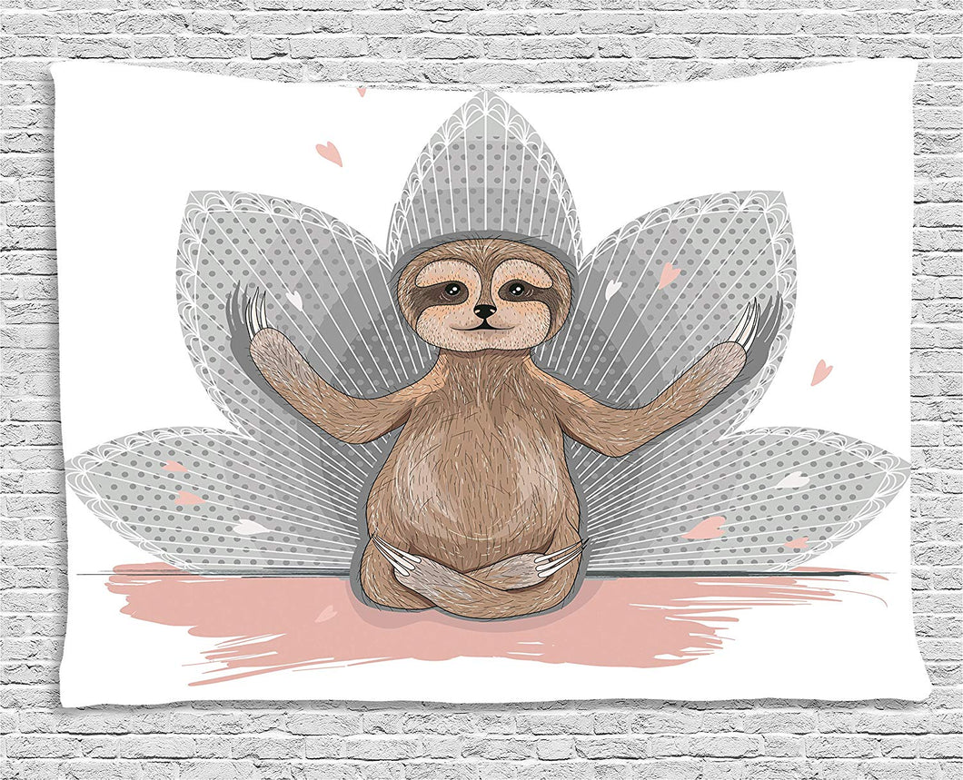 Ambesonne Sloth Tapestry, Little Cute Sloth Meditation Lotus Flower Yoga Asana Positions Motivational Fun, Wall Hanging for Bedroom Living Room Dorm, 60 W X 40 L Inches, Pink Brown Grey
