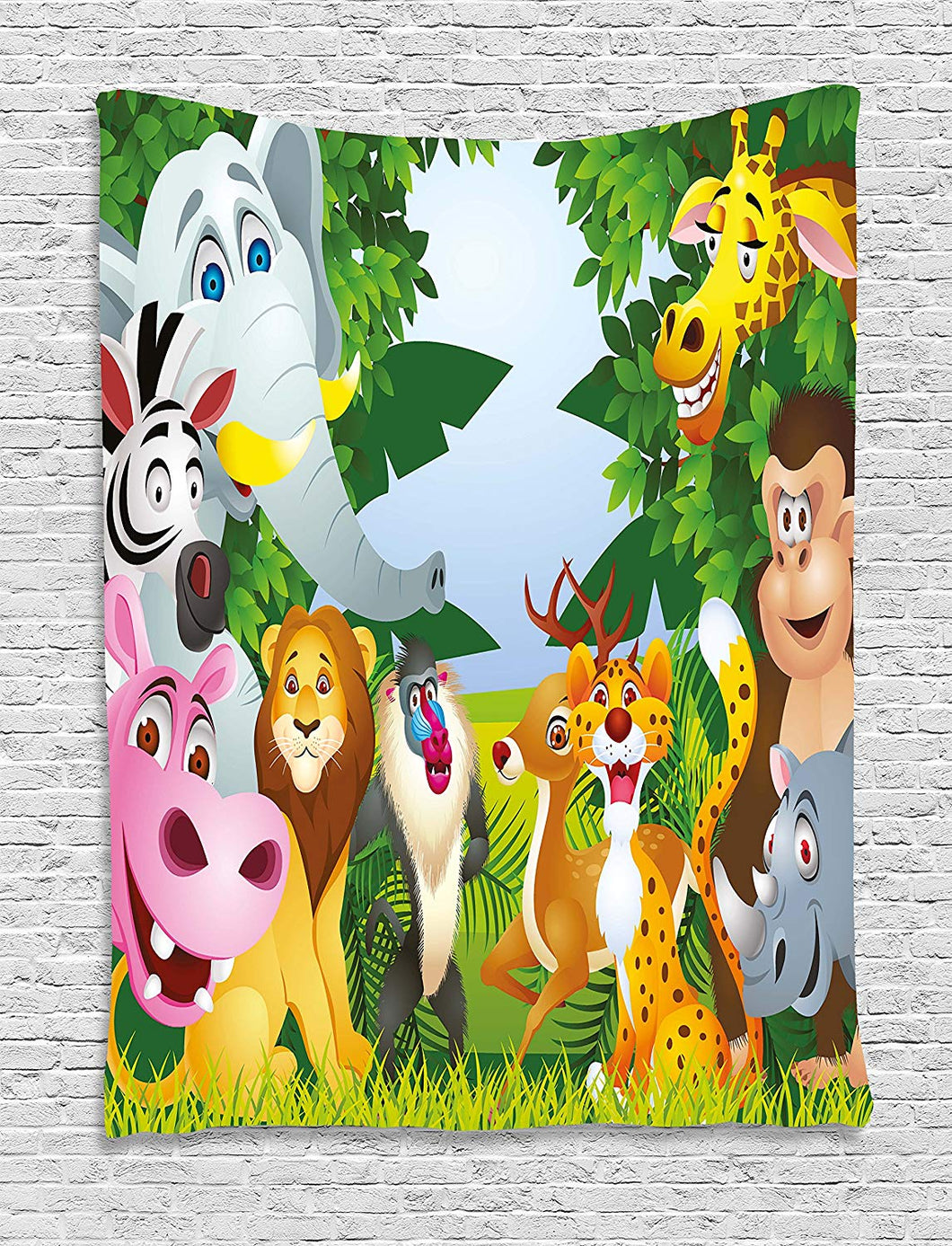 Adorable Animated Jungle Animals Décor Tapestry