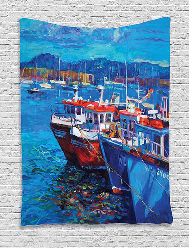 Large Ships Painting Tapestry