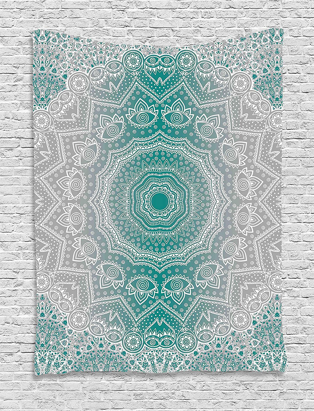 Ambesonne Grey and Teal Tapestry, Mandala Ombre Sacred Geometry Occult Pattern with Flower Lines Display Artwork, Wall Hanging for Bedroom Living Room Dorm, 60 W x 80 L Inches, Teal Grey