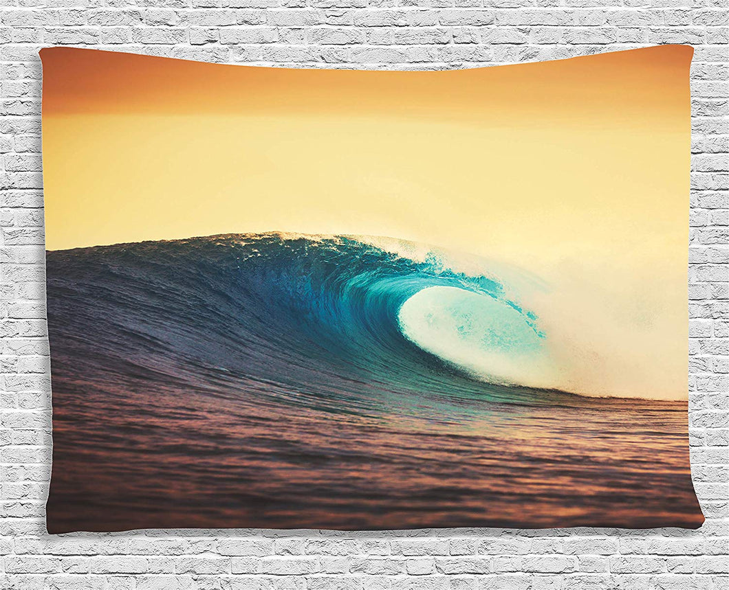 Big Waves With Sunset Backdrop Tapestry