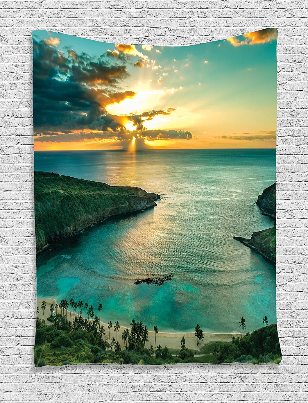 Ambesonne Beach Tapestry Sunset Decor by, Sunrise over Hanauma Bay on Oahu Hawaii Sunbeams Through Dark Clouds Shoreline Image, Bedroom Living Room Dorm Wall Hanging, 60W x 80L Inches, Aqua Orange