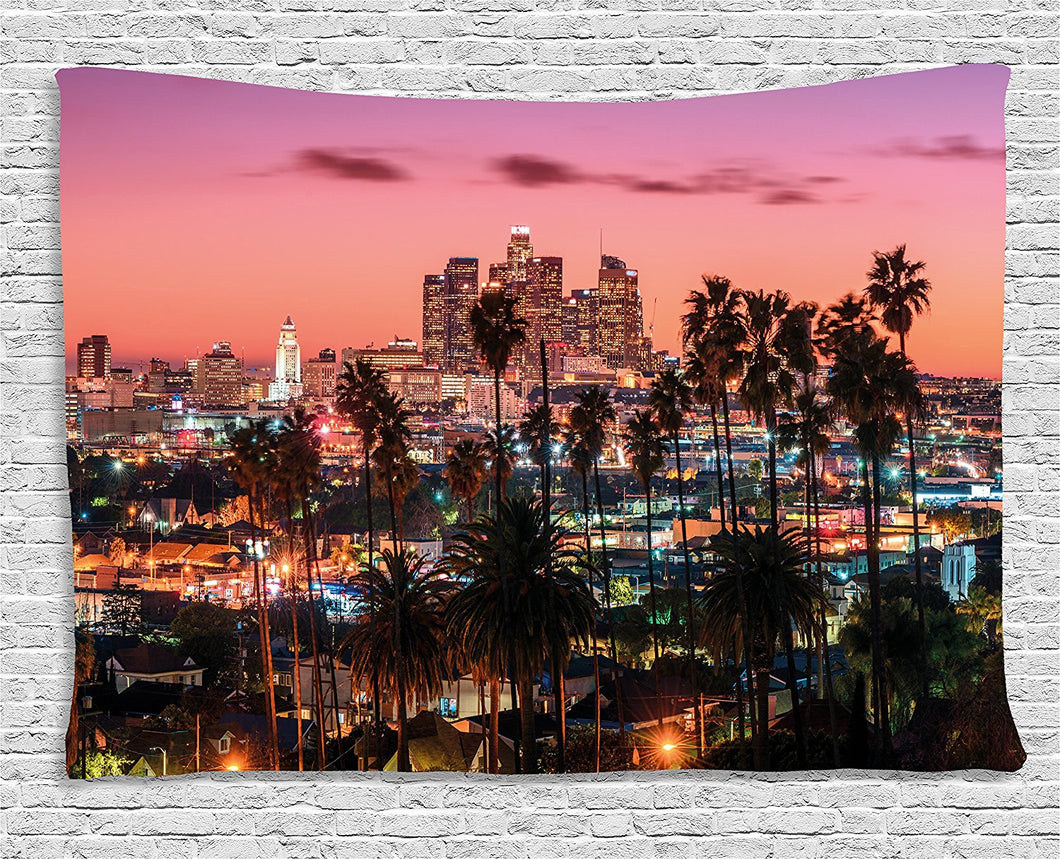 Ambesonne United States Tapestry, Vibrant Sunset Twilight Scenery Los Angeles Famous Downtown with Palm Trees, Wall Hanging for Bedroom Living Room Dorm, 80 W X 60 L Inches, Multicolor