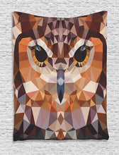Ambesonne Owl Tapestry Geometric Decor, Mosaic Owl Head in Linked Triangle Forms Retro Style Theme Funky Geometric Art Boho Decor, Bedroom Living Room Dorm Wall Hanging Tapestry, Brown Orange