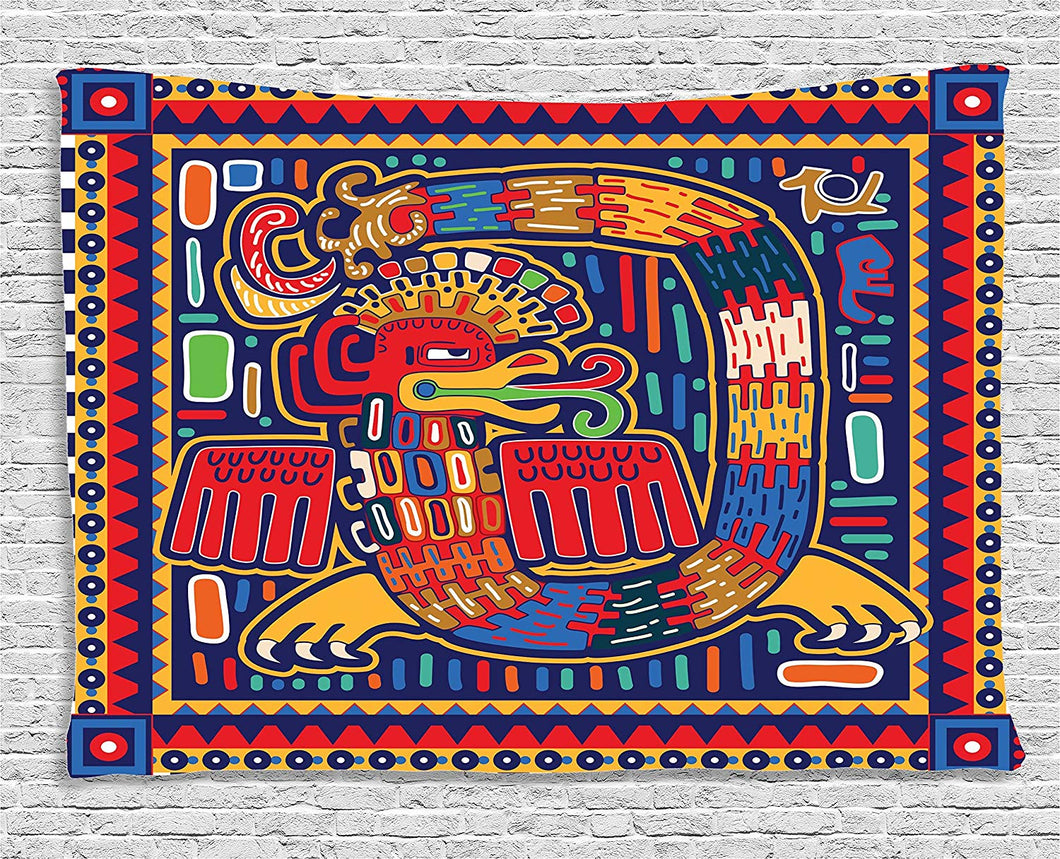 Mexican Art Dragon Print Tapestry