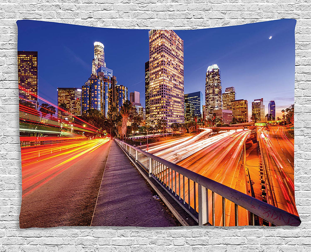 Cityscape At Night Tapestry
