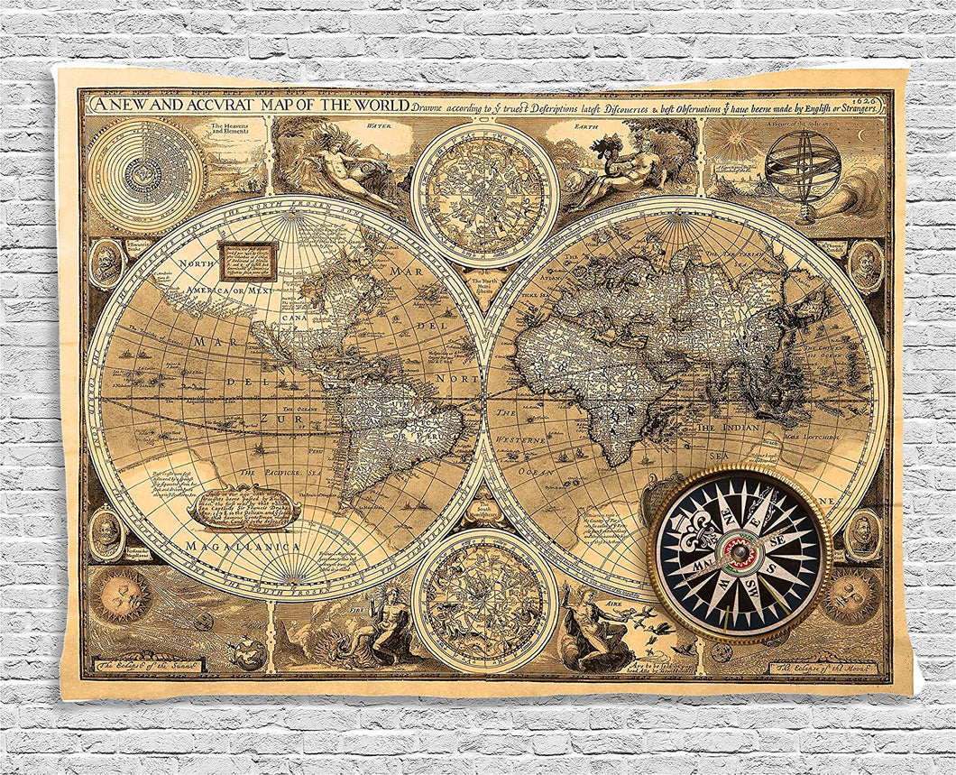 Old School Rustic World Map Tapestry