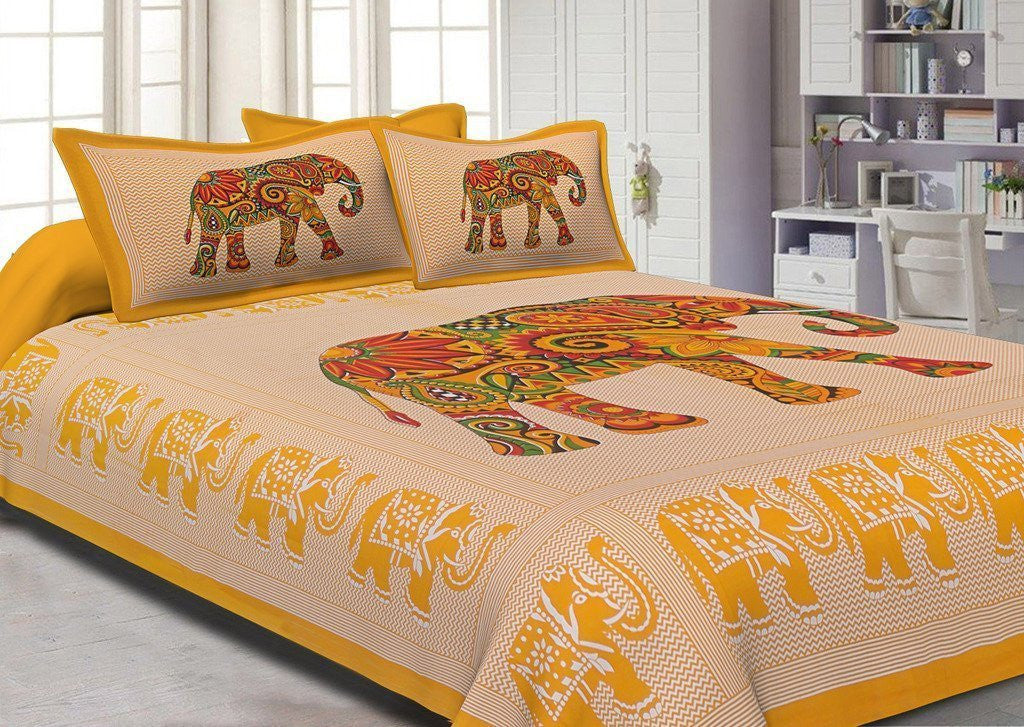 Printed Royal Elephant Cotton Double Bedsheet With 2 Pillow Covers