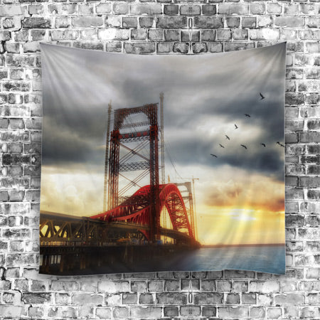 Maroon Arch-Bridge Hanging Tapestry