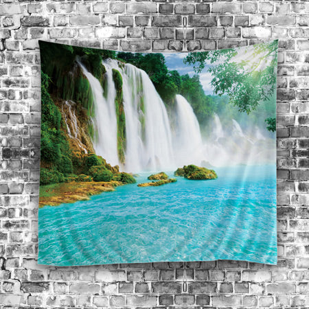 Green Waterfall Scenic Tapestry