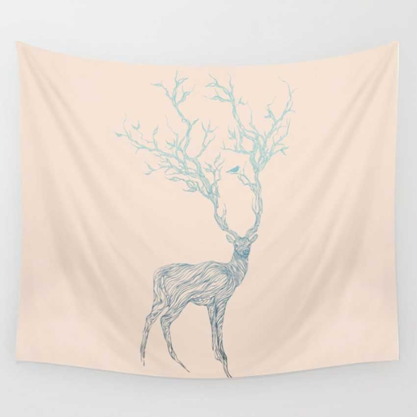 The Pink- Abstract Deer-Art, Splendid Soothing Hanging Tapestry/ Bed Work
