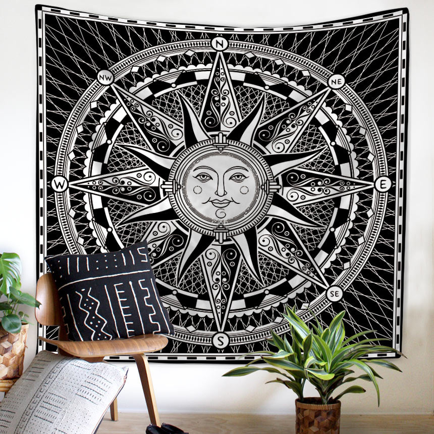 Universal Compass Artwork Tapestry