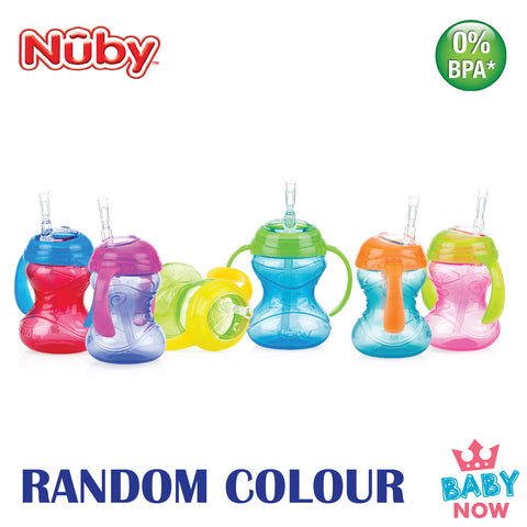 NB10160 NUBY CLICK-IT TWIN HANDLE FLEXI STRAW 240ML (Random Colour)