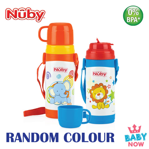 NB10226 Nuby SS Click-It Thermos W Cup & Strap 360ml