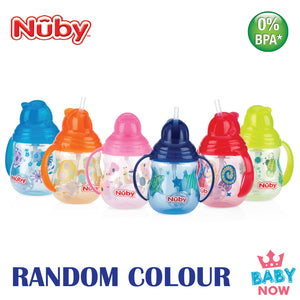 NB10324 NUBY 1PK DESIGNER SERIES PINPOINT 2 HANDLE 8OZ/240ML CLIK-IT TRAINER CUP (Random Colour)