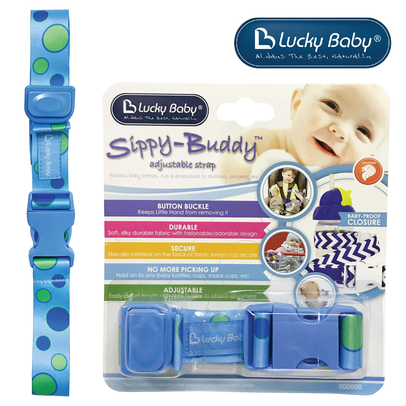 [603468] Lucky Baby Sippy-Buddy™ Adjustable Strap _ Polka Dot (Blue)