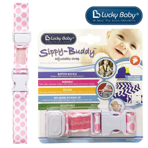 [603475] Lucky Baby Sippy-Buddy™ Adjustable Strap _ Polka Dot (Pink)