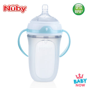 NB50001 Nuby 1PK 250ml Silicone Comfort Bottle With Medium Flow Nipple, PP Handles & PP Cover