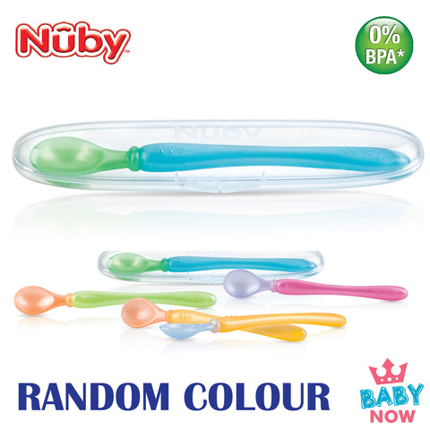 NB5341 Nuby 3PK Easy Go PP Spoons & Travel Case (RANDOM)