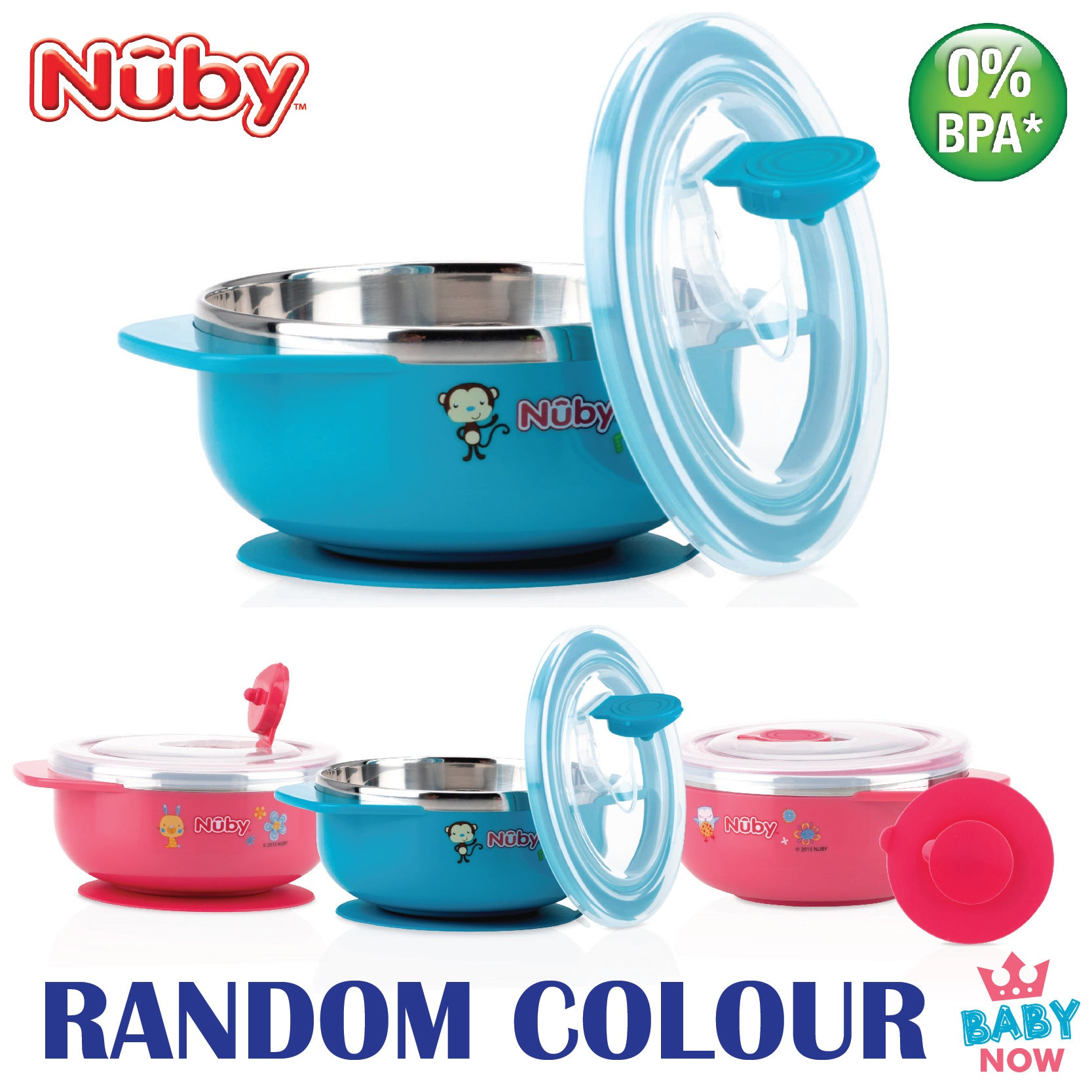 NB5572 Nuby 1PK 8oz/250ml Stainless Steel Printed Bowl With Handle (RANDOM COLOUR)