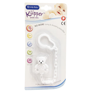 [595145] Pacifier Holder - White Bear (CE Approval)