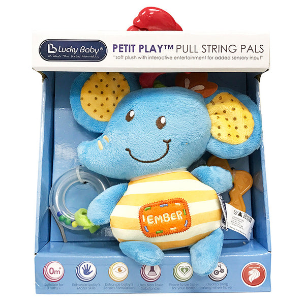 [621011] Petit Play™ Pull String Pals - Ember Elephant