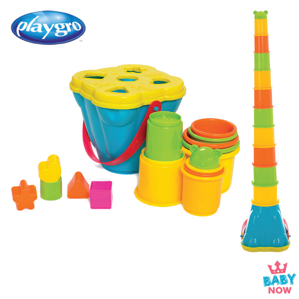 [PG6384153] Playgro Shape Sorting and Stacking Buckets