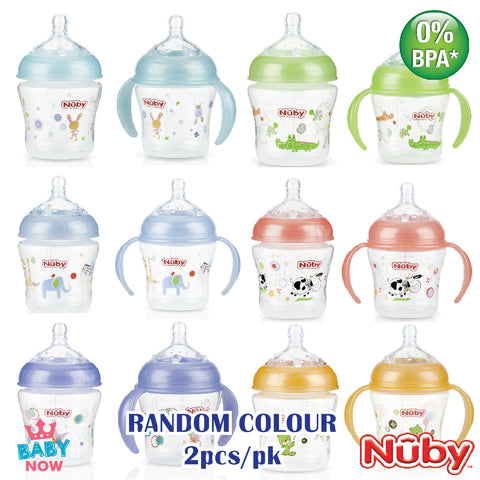 [NB68078] Nuby 2PK Natural Touch 6oz/180ml All Around Printed Bottle With Slow Flow Nipple