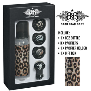 [90108] RSB Giftset 8 – LEOPARD -  (1 x 8oz bottle, 3 x pacifiers, 1 x pacifier holder)