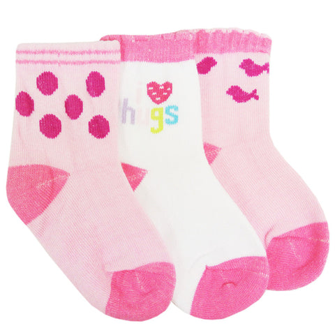 [918425]  First Soks™ 3 Pairs Tots Socks 12-24 Mth- Girl (ASSORTED)