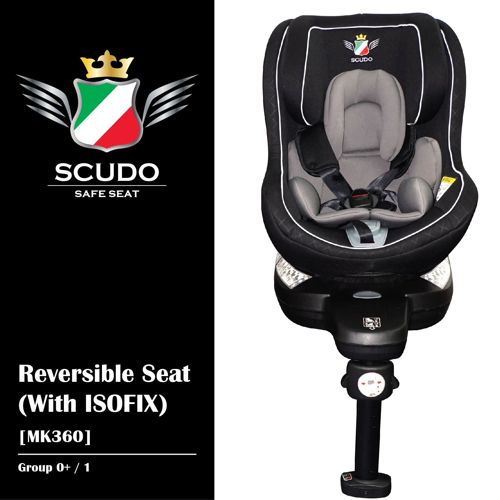 [MK360-GY] SCUDO Reversible Seat (With ISOFIX) - GREY