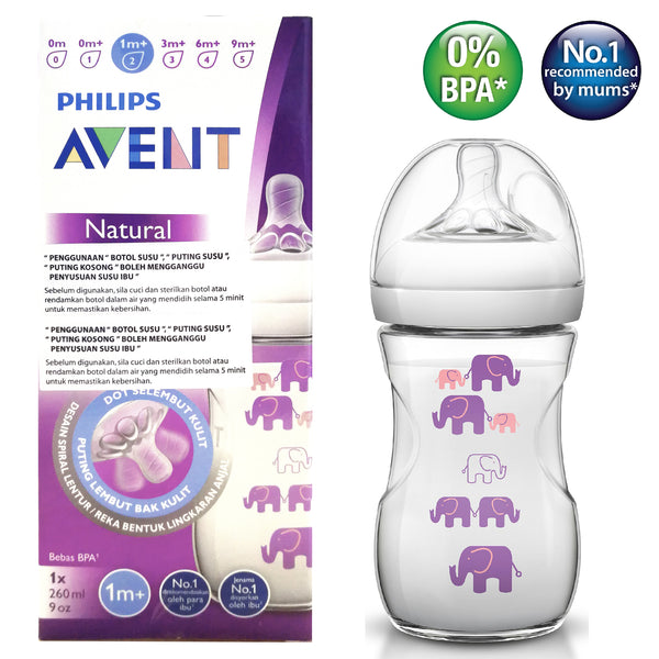 [SCF028/13] Philips Avent Natural 2.0 Decorated Girl 9oz/260ml-Elephant (Single)