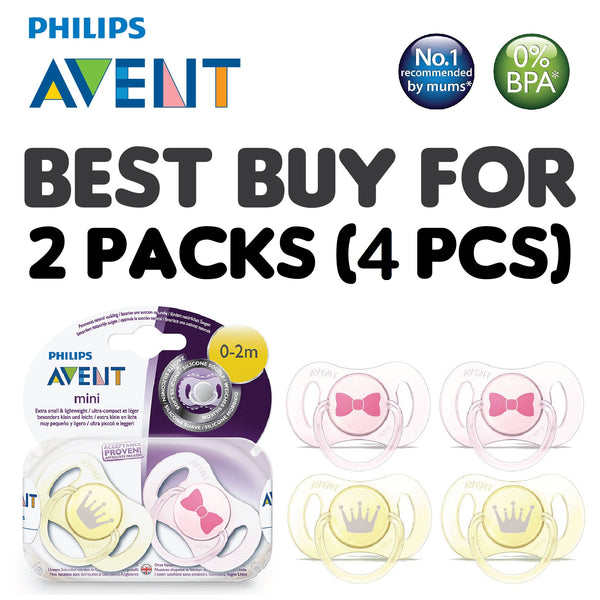 [SCF151/02] Philips Avent Mini Soother 0~3M (Girl) Twin Pcs/Pack  (BEST BUY FOR 2 PACKS)