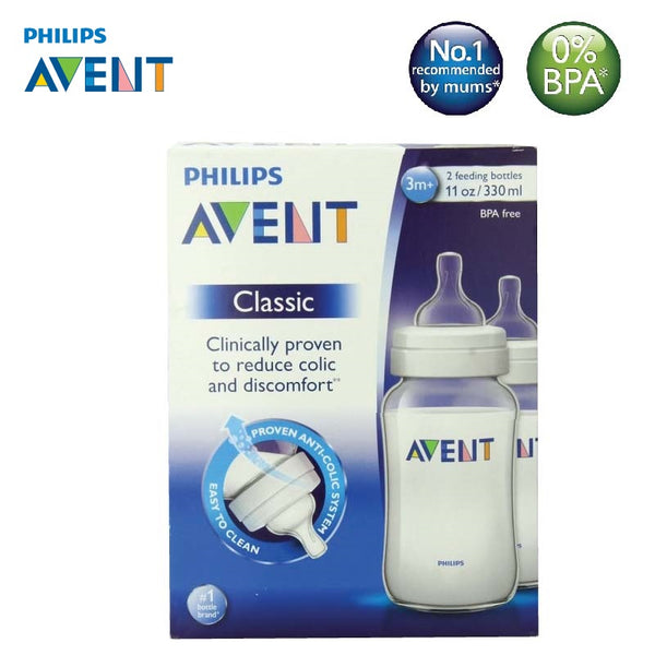 [SCF566/27] Philips Avent Classic Plus Feeding Bottle 11oz/330ml (Twin)