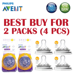 [SCF654/23-2] Philips Avent Natural 2.0 Teats 6M+ (4 hole) (BEST BUY FOR 2 PACKS)