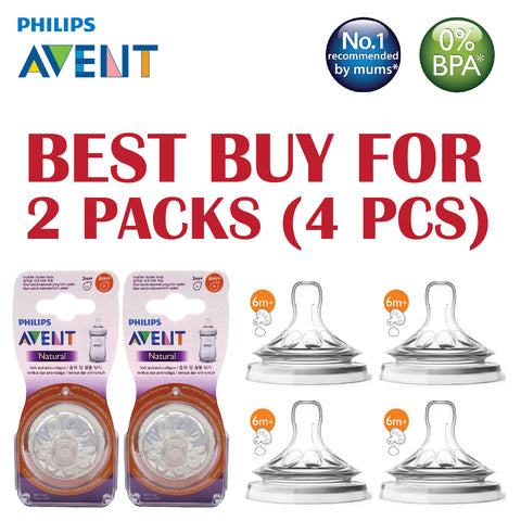 "[SCF656/23-2] Philips Avent Teat Natural 2.0 Thick Feed ""Y"" cut 6mth+ (4pcs/2pk)"