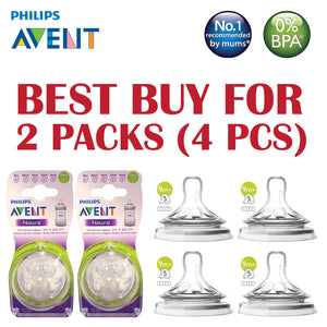 [SCF658/23-2] Philips Avent Teat Natural 2.0 Grown Up Flow Teat 9M+ (Best Price For 2 pk)