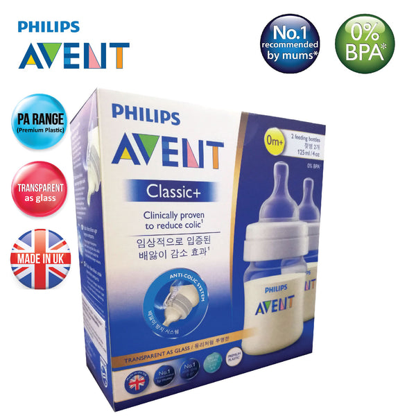 SCF452/27 Philips Avent PA Classic Plus Feeding Bottle 125ml/4oz (Twin)