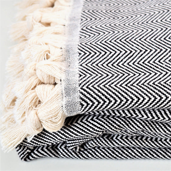 Cotton throw, herringbone weave, Terra Ocra